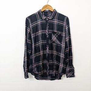 Rails Hunter Plaid Shirt Onyx Slate Blush NWT